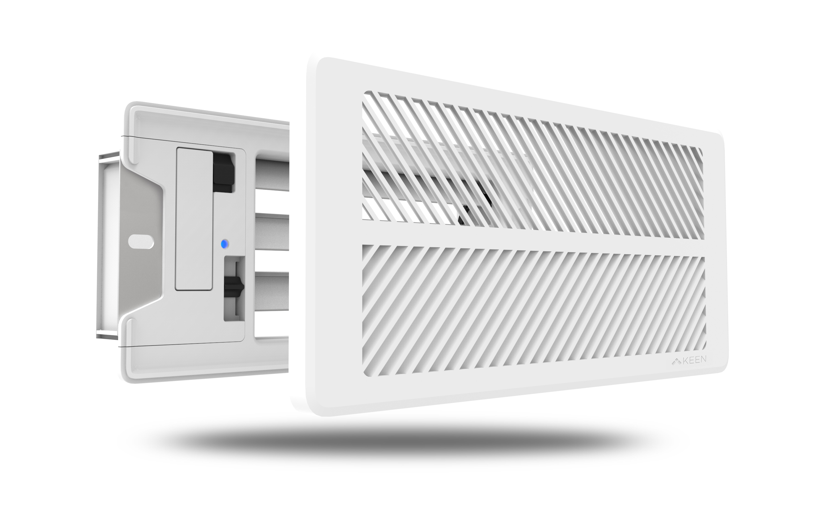3/4 view of the Keen Home Smart Vent