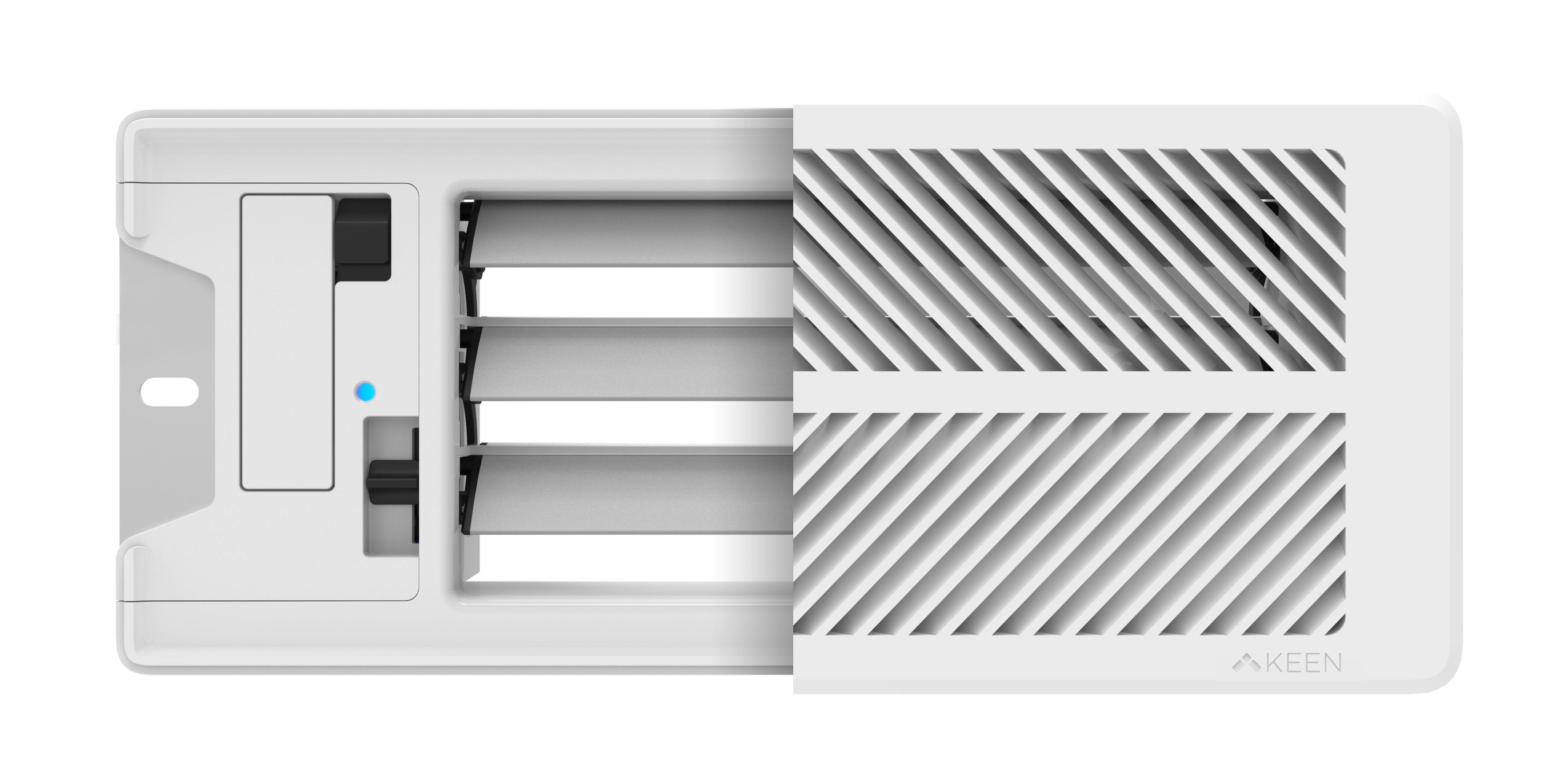 Front view of the Keen Home Smart Vent with half showing the faceplate