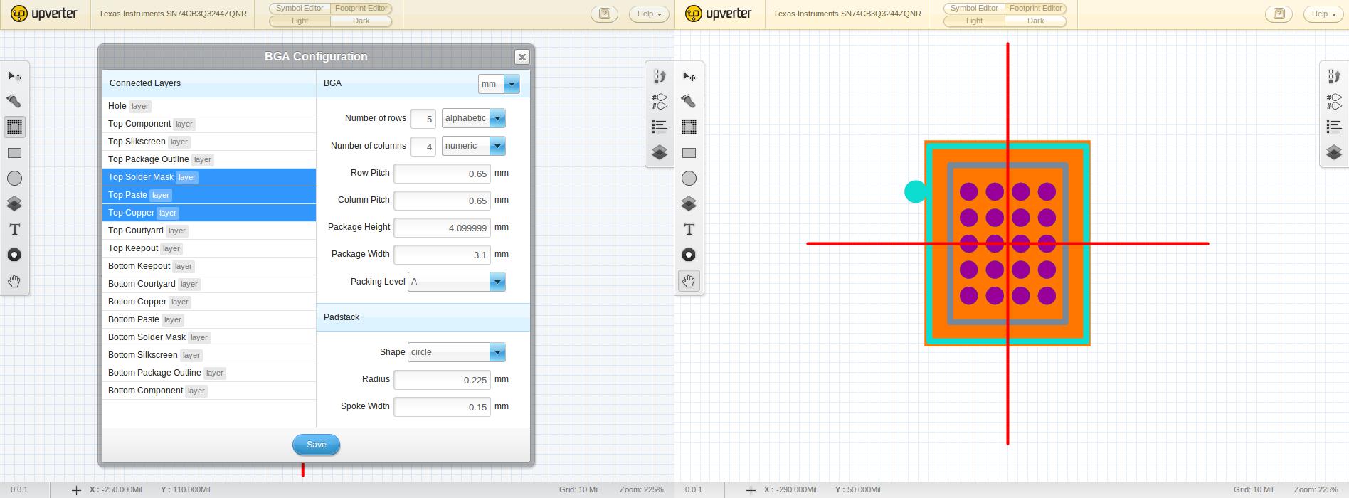 BGA Generator and generated footprint