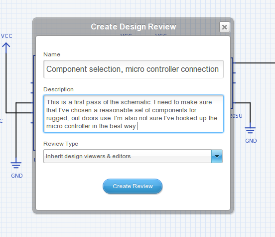 Create design review dialog