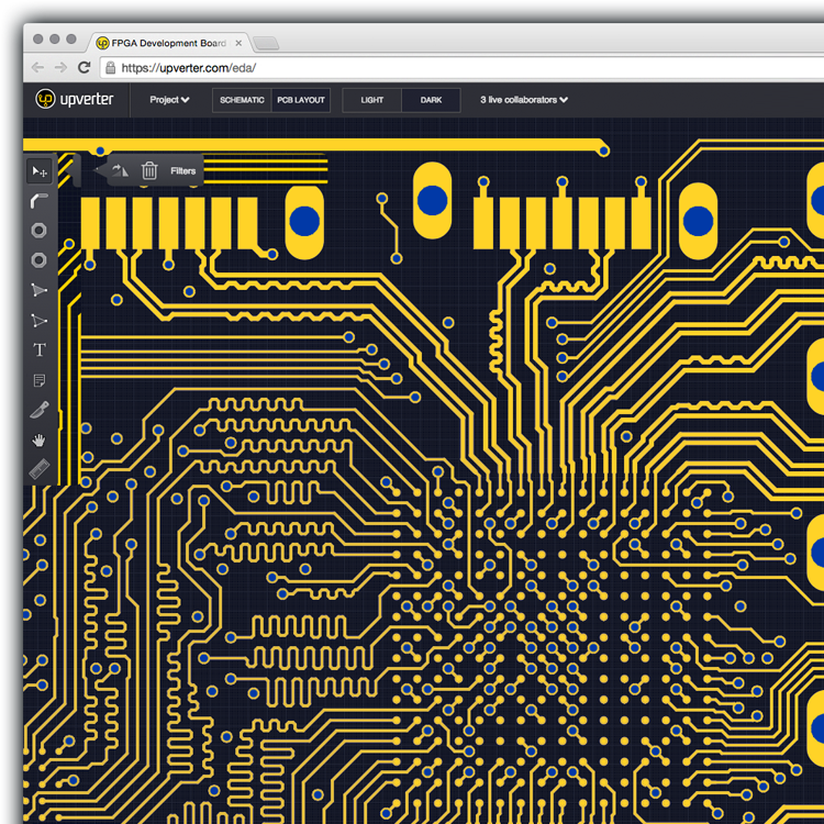 Screenshot of an FPGA Development Board project open in the Upverter Schematic Capture tool