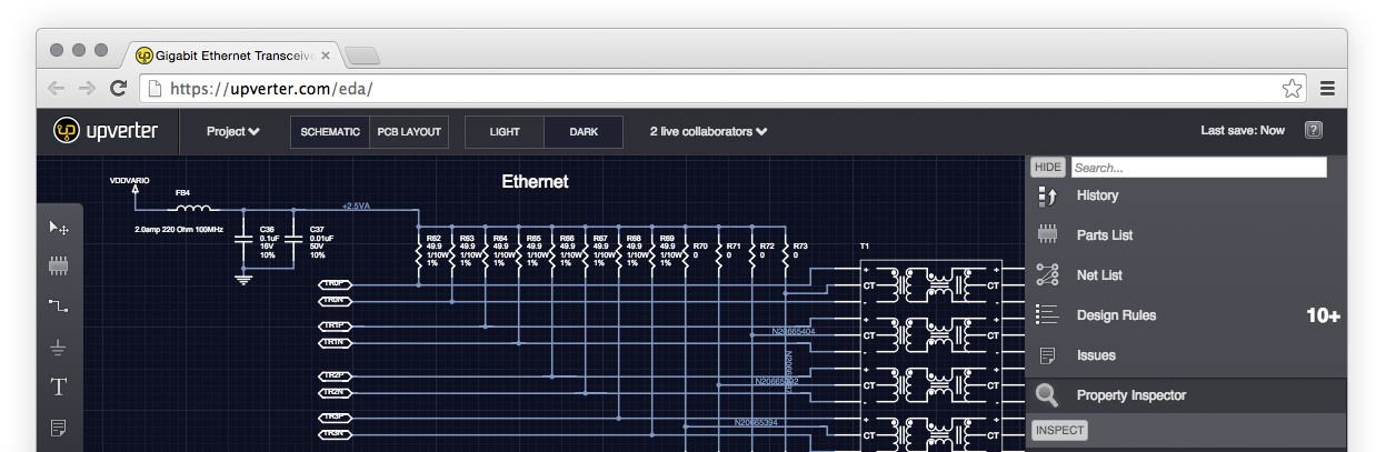 Screenshot of a Gigabit Ethernet Tranceiver project in the Upverter PCB Layout tool