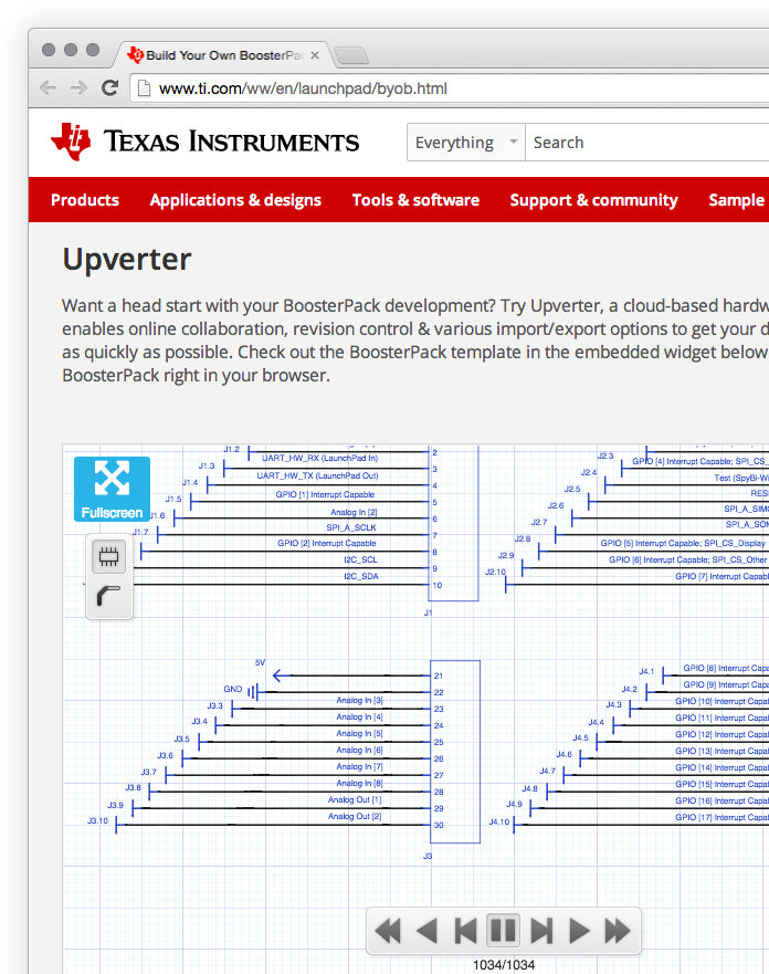 Screenshot of the Texas Instruments Launchpad page with an Upverter embed