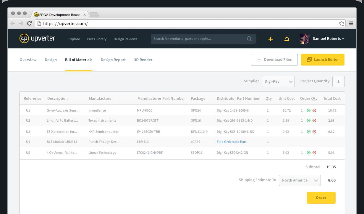 Screenshot of an example BOM