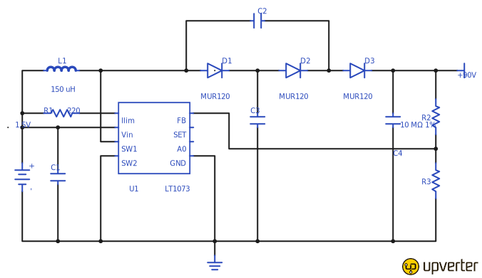dberlin / High Voltage Converter: 90V From 1.5V
